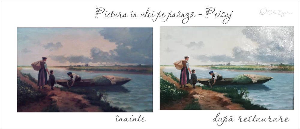 RESTAURARE tablou peisaj  cu personaje și râu