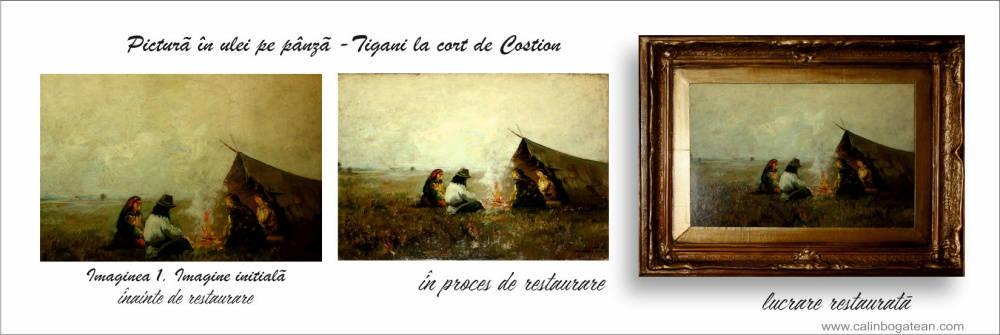 restaurare-tablou-țigani-în-șatră-CONSTANTIN-IONESCU-COSTION