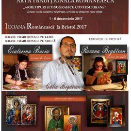 Expoziție icoane Bristol Anglia Călin Bogătean, Baciu Ecaterina, Roxana Bogătean expoziție de icoane pe lemn icoane pe sticlă Afiș română