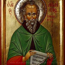 Sfântul Atanasie Atonitul, Sfântul Atanasie, icoană Atanasie Atonitul, icoană, icoană bizantină, pictură, în tempera, pe lemn, artă ortodoxă, icoană pe lemn, icoane sfinți, de vanzare, la comandă, calinbogatean, icoană sfânt, pictură pe lemn